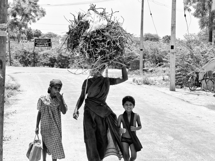A mother carrying firewood the she picked outside the town, returning home with her kids. Pavali Road, Virudhunagar, India