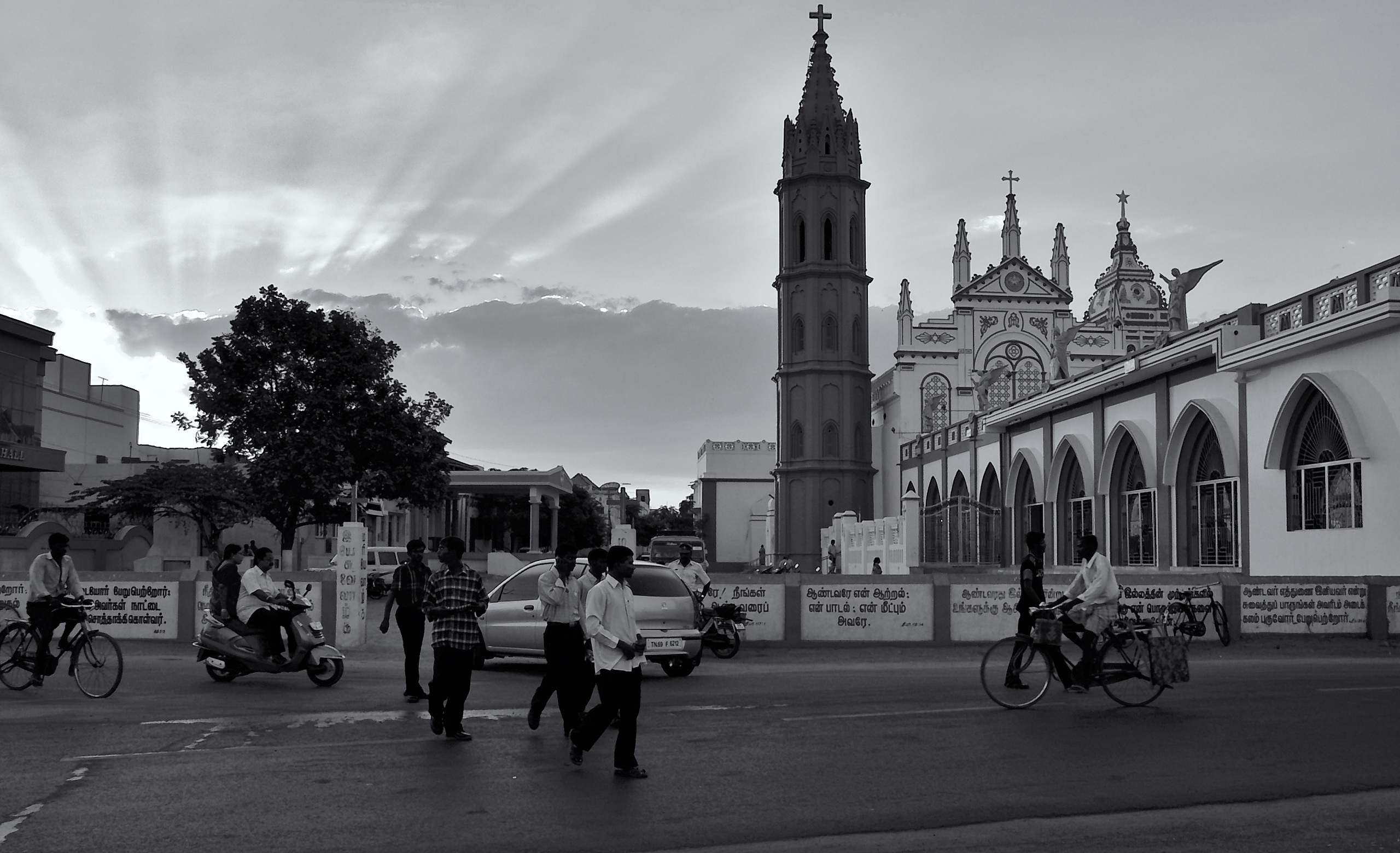 Sun is setting behind the Church (Our Lady of Snows Shrine Basilica), Tuticorin, Tamil Nadu, India