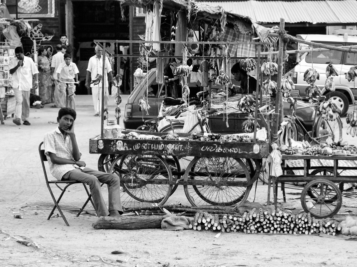 An young boy at fruit-stall, probably covering for his parents. Virudhunagar, India