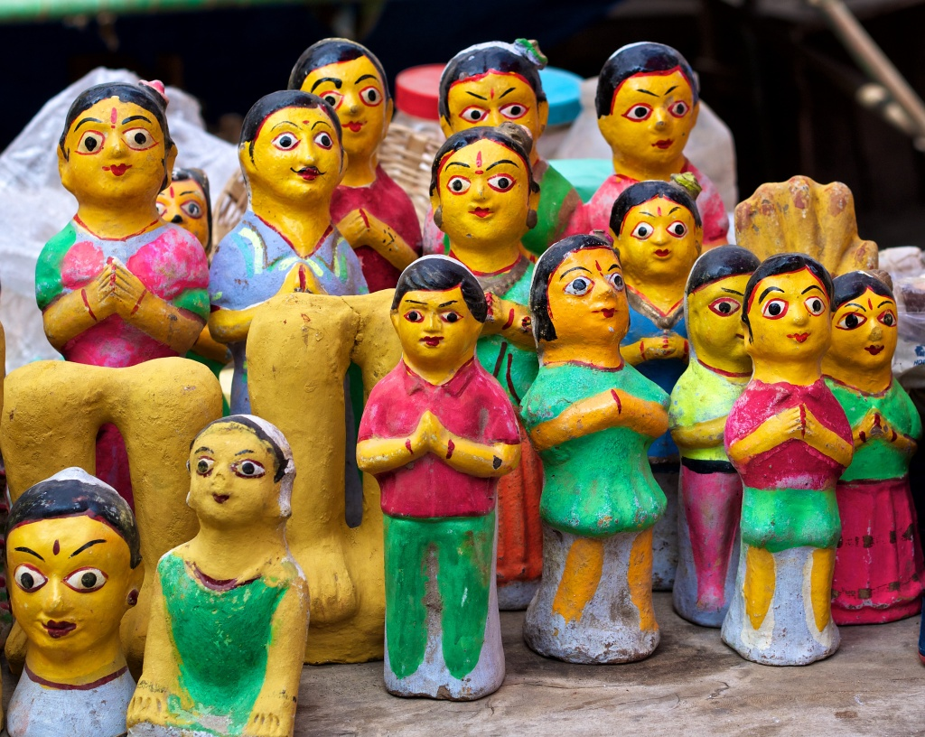 Clay dolls that the old woman was selling in front of the temple. Virudhunagar, India.