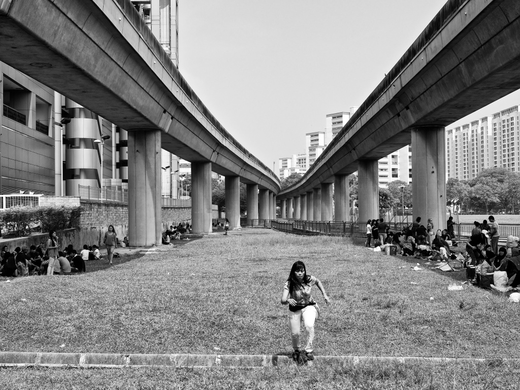 Indonesian migrant workers gathered under the railway bridge for their day-off get-together, PayaLebar, Singapore