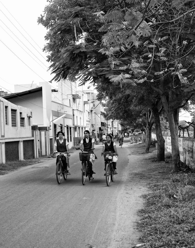 Students returning home in their bicycles, Virudhunagar, Tamil Nadu, India