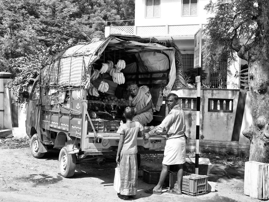 A mobile fruit shop set up on a mini van, Virudhunagar, Tamil Nadu, India