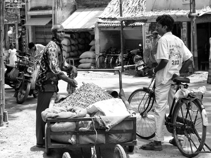 A groundnut seller by the street, Virudhunagar, Tamil Nadu, India