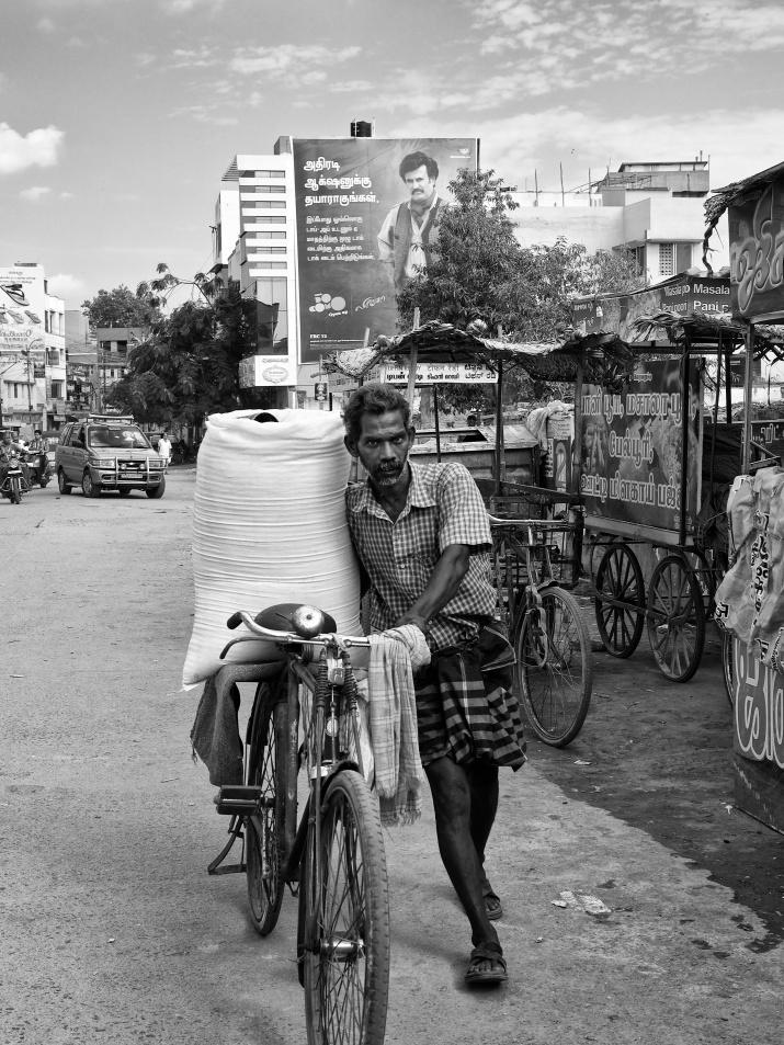 A street vendor on his way in his bicycle selling grainy salt, Madurai, Tamil Nadu, India