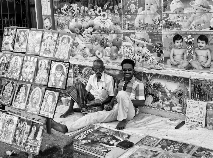 Street vendors selling pictures and posters, Thanjavur, Tamil Nadu, India