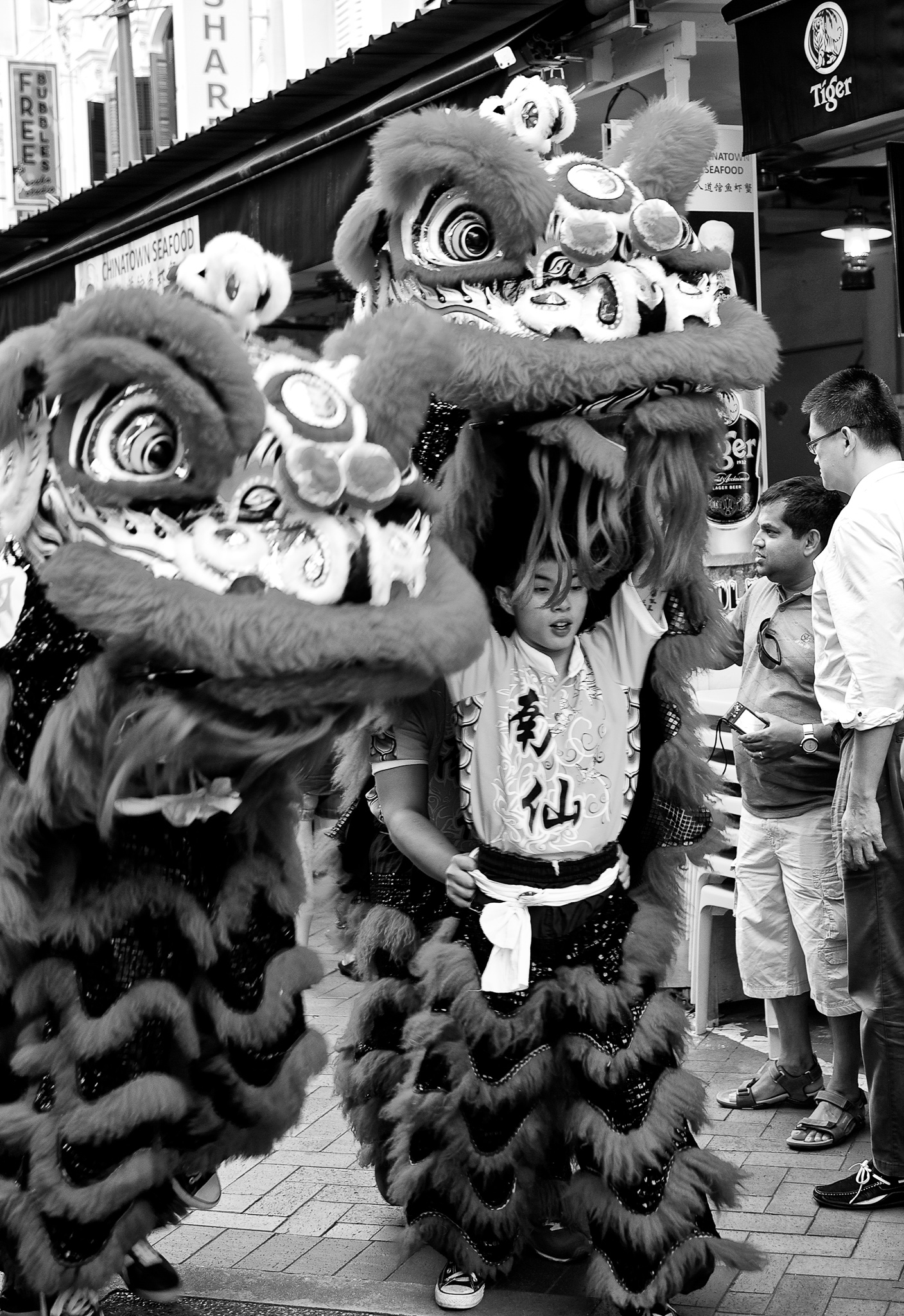 A lion dance troupe on the move, China Town, Singapore