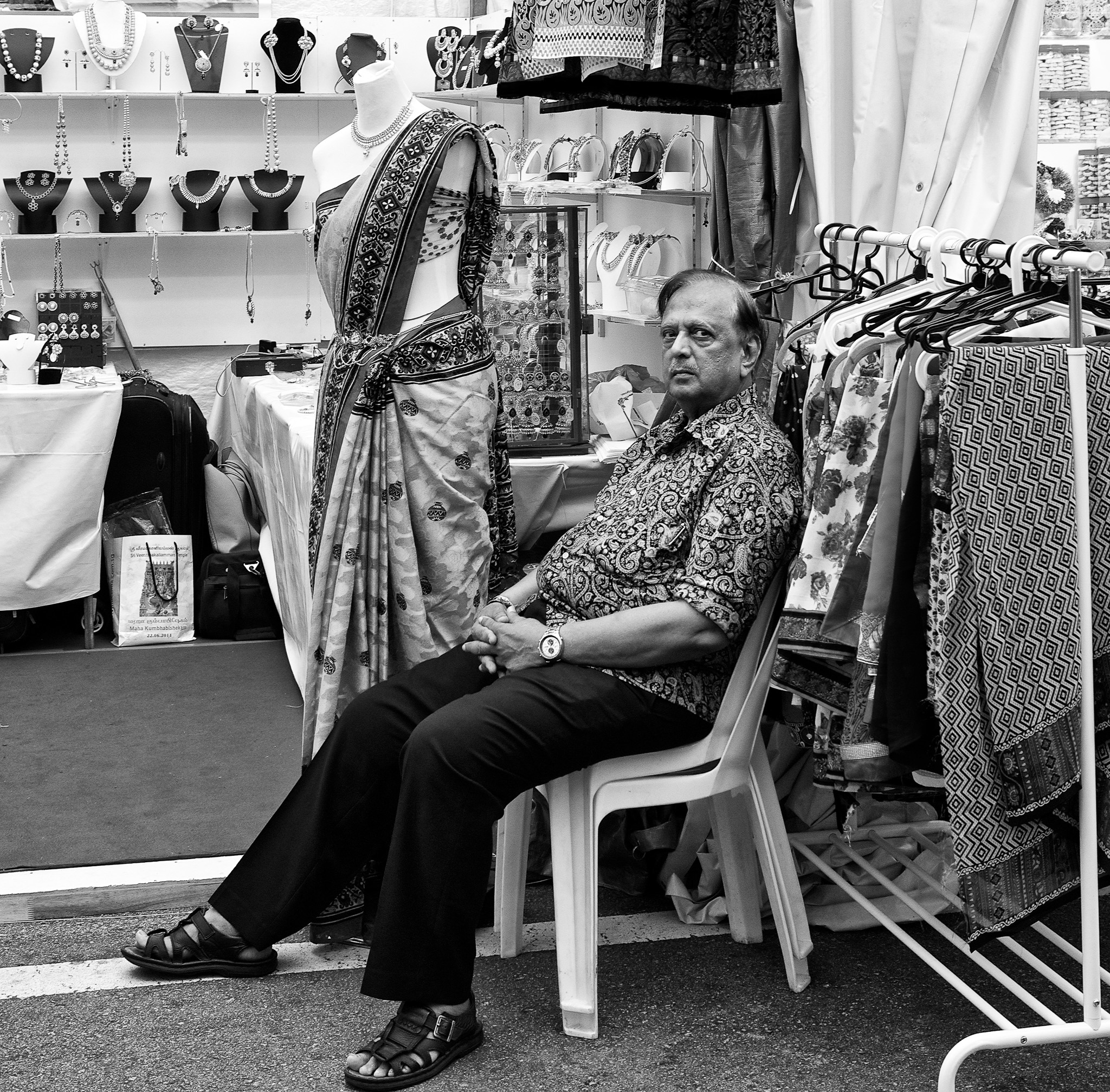 A shopkeeper, and his mannequin. Hastings Road, Little India, Singapore