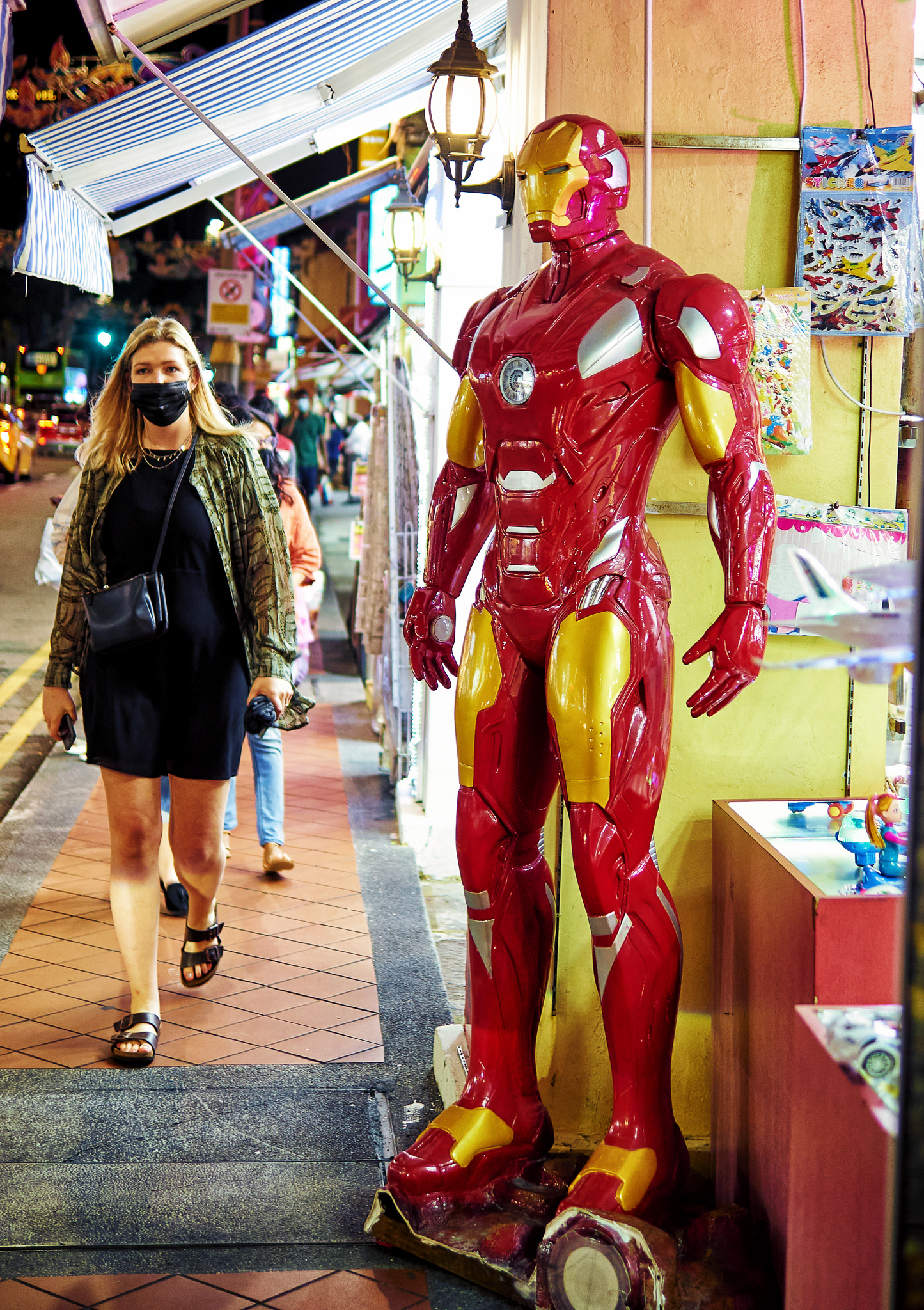 Iron Man mannequin on display in front of a toy shop at Little India, Singapore
