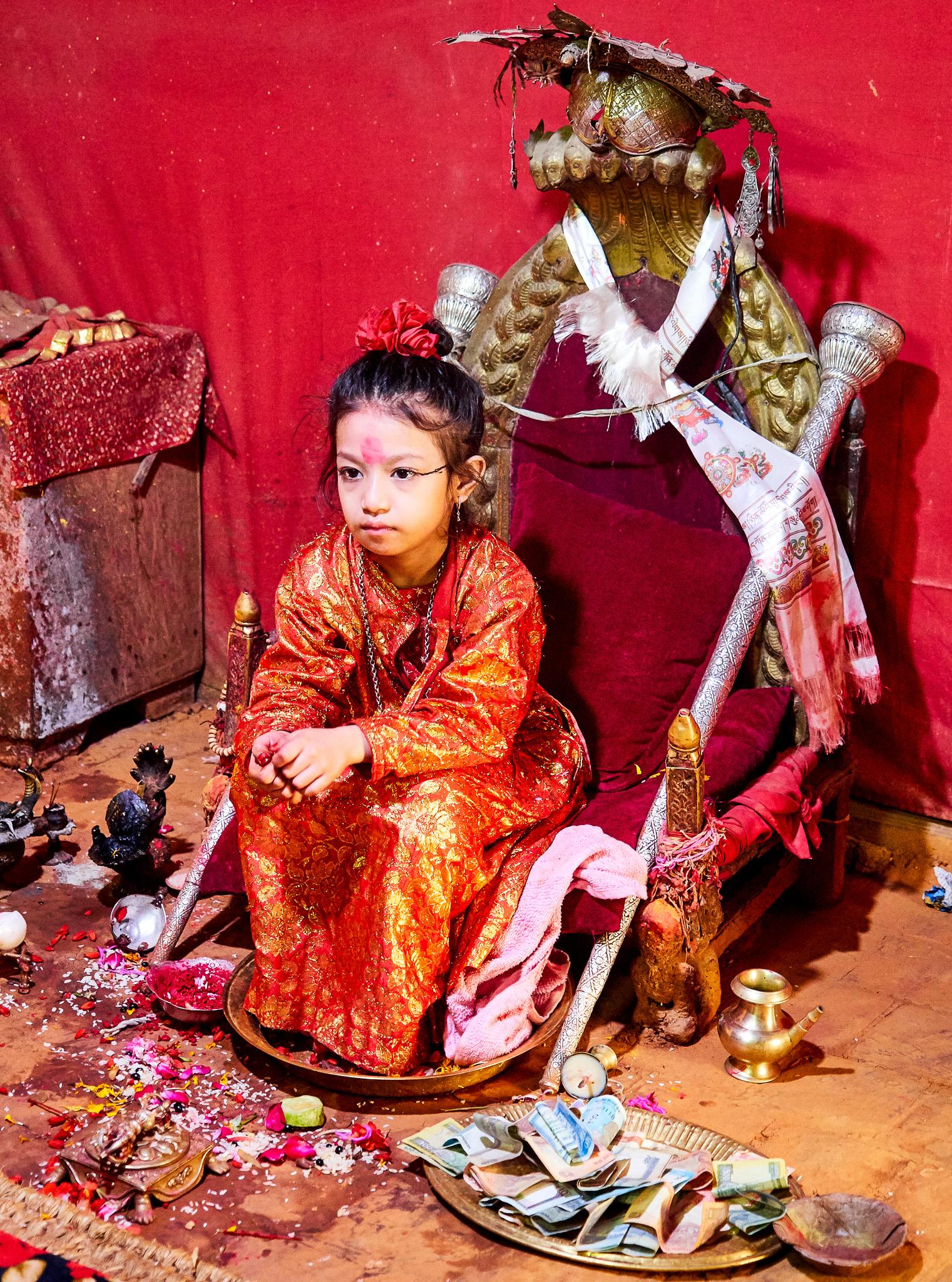 Lalitpur living Godess (Kumari) in her throne, Lalitpur, Kathmandu, Nepal