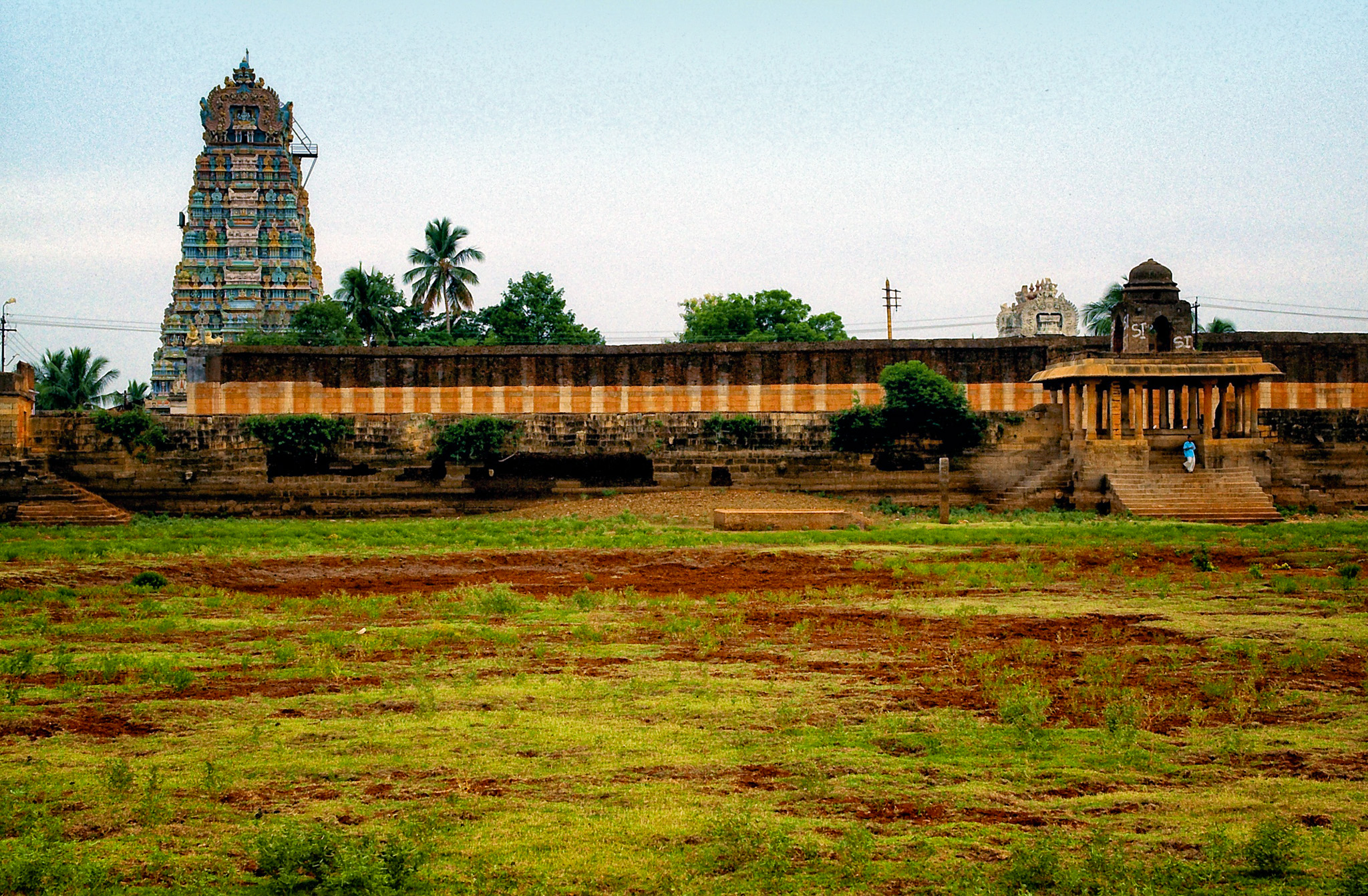 Side view of the temple tower from the dried lake. Nanguneri, Tamil Nadu, India