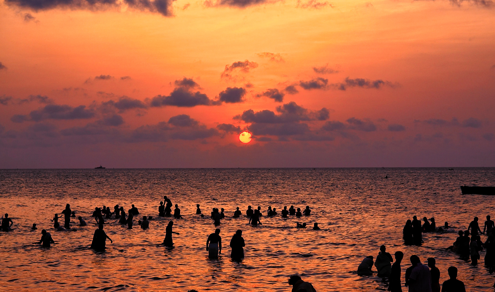 People taking holy bath at the Sun Rise, Rameswaram, Tamil Nadu, India