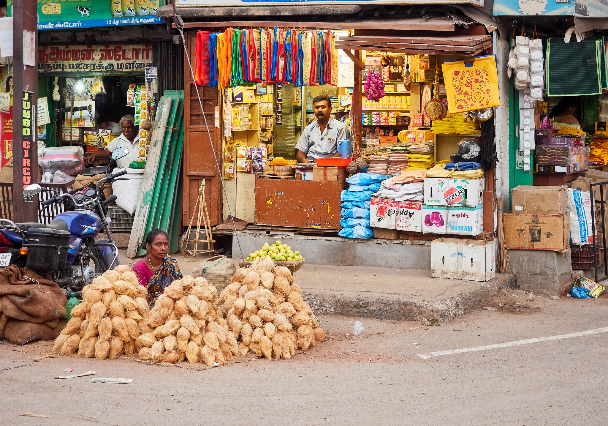A woman coconut seller and shopkeepers at the East Masi Street market, Madurai, Tamil Nadu, India