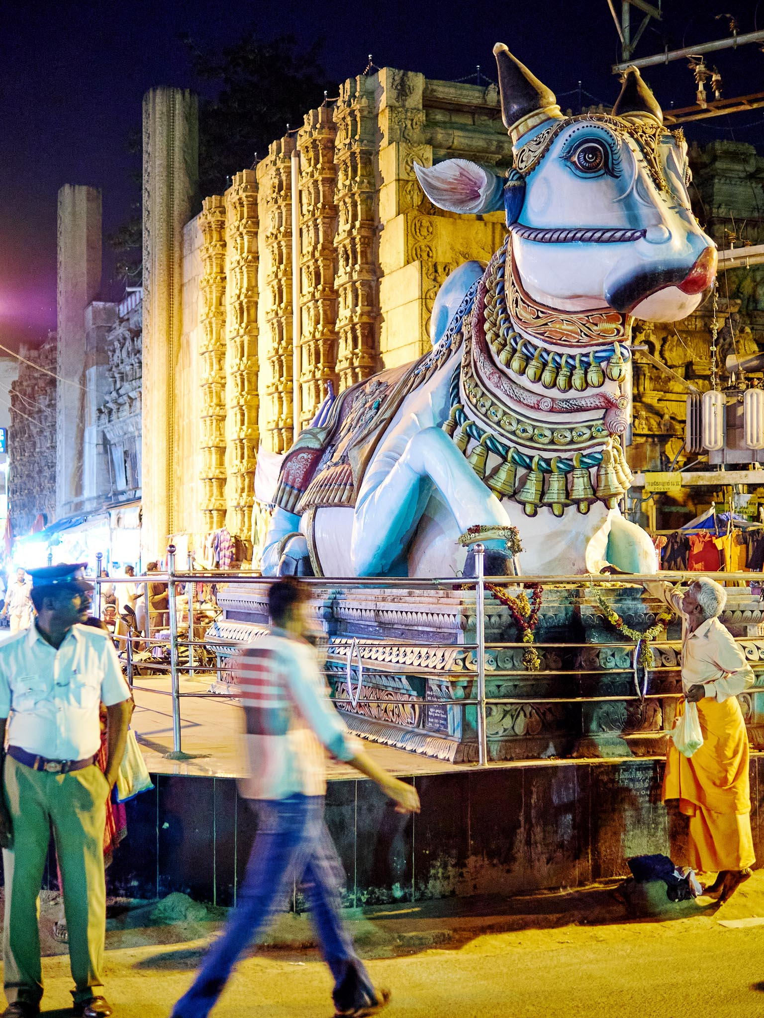 An old man offering a garland to the huge Nandi statue at Puthumandapam junction, Madurai, Tamil Nadu, India