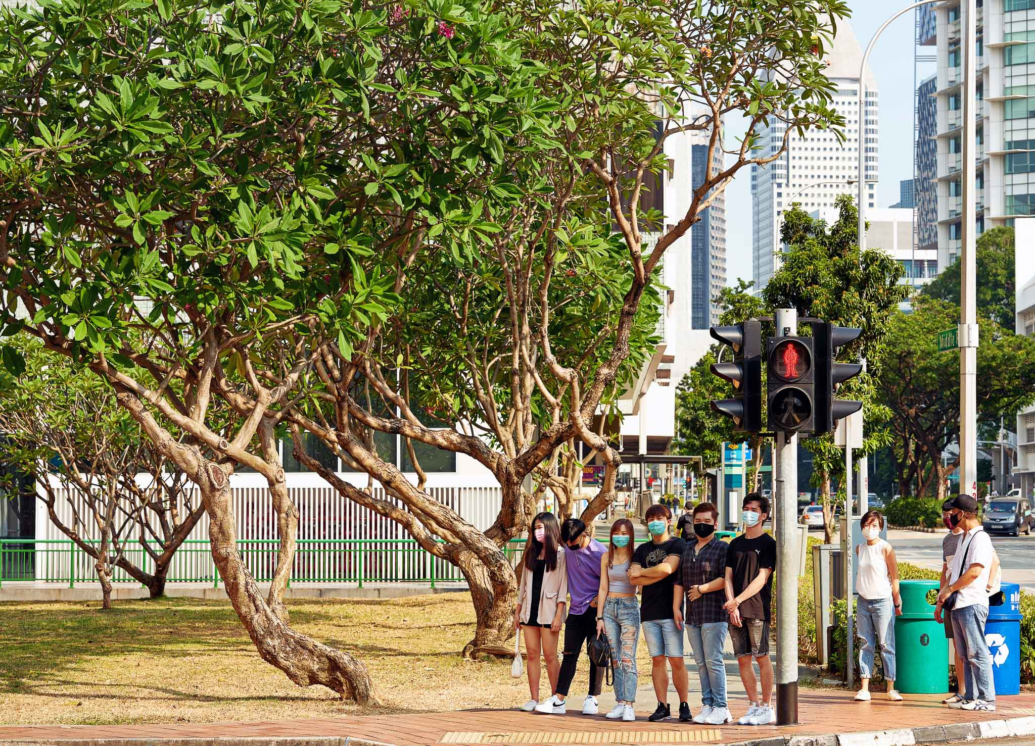 A group of friends lined up under the shadow of a traffic light, for respite from an evening Sun, Waterloo Street, Bugis, Singapore
